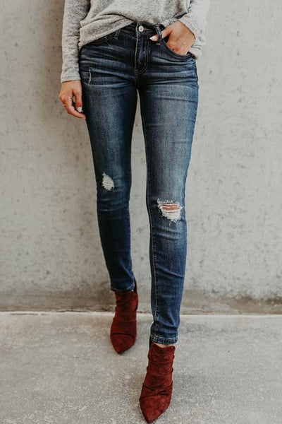 Chiczora Distressed Faded Mid Waist Denim Jeans