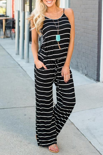 Chiczora Spaghetti Strap Striped One-piece Jumpsuit