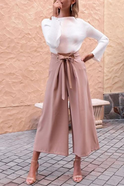 Chiczora Casual Loose Pink Belted Pants