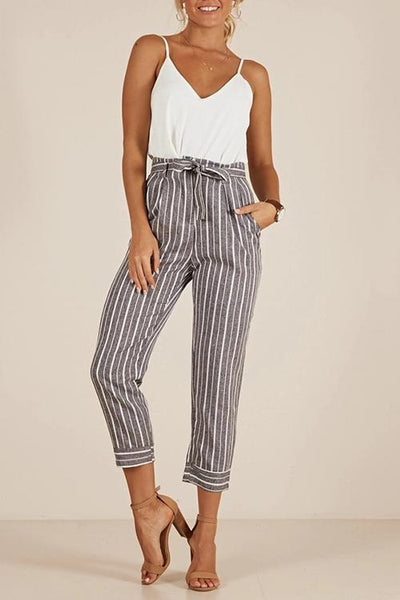 Chiczora Casual Grey belted striped pants
