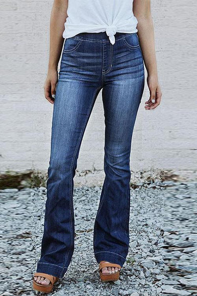 Chiczora Denim Casual Solid Mid Elastic Waist Jeans