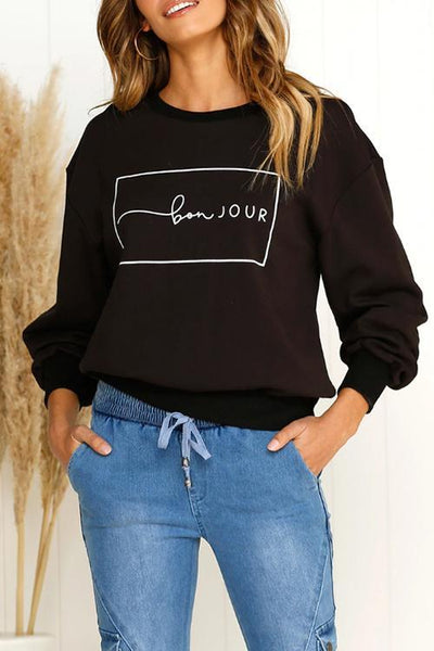 Chiczora Daily Letters Printed Black Hoodies