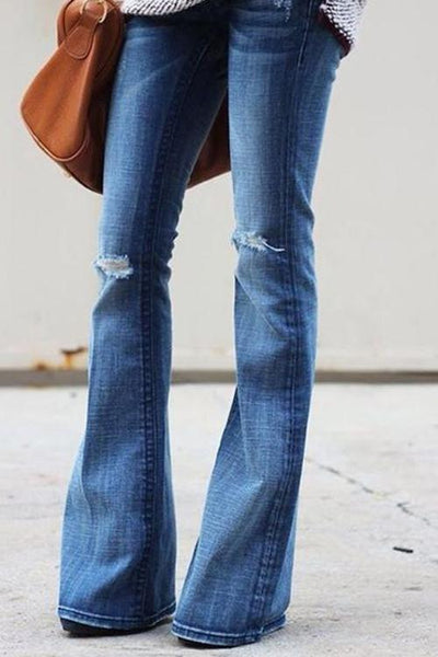 Chiczora Broken Holes Flare Denim Jeans