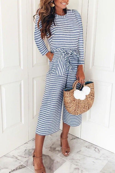 Chiczora Casual Striped Blue Long One-piece Jumpsuit