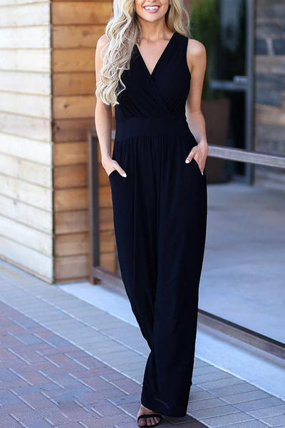 Chiczora Trendy Loose Black One-piece Jumpsuit