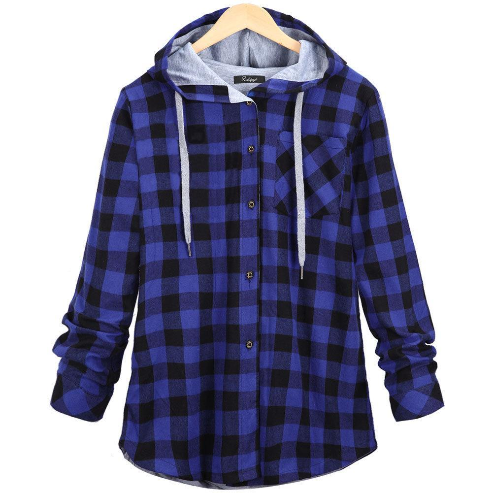 cb742ec71ab Click to enlarge. Home Women Plus Size Long Sleeve Hooded Plaid Shirt Coat