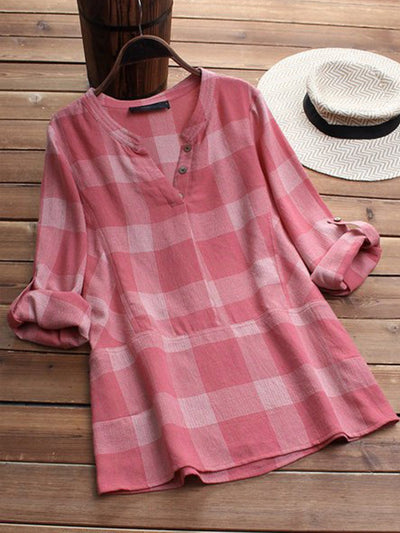 Sweet V-neck Long Sleeve Plaid Blouse