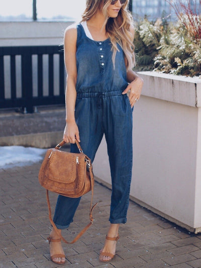 Buttoned Sleeveless Denim Jumpsuits Overalls