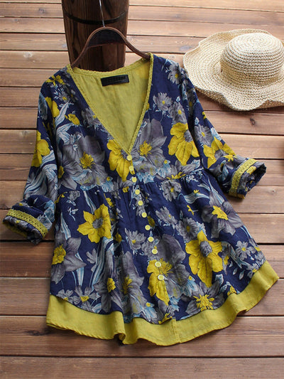 Floral Printed Fake Two Piece Vintage Blouse
