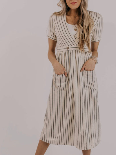 Beige Short Sleeve Cotton Striped Dress