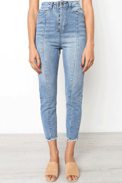 Chiczora Casual Vintage High Waist Denim Jeans