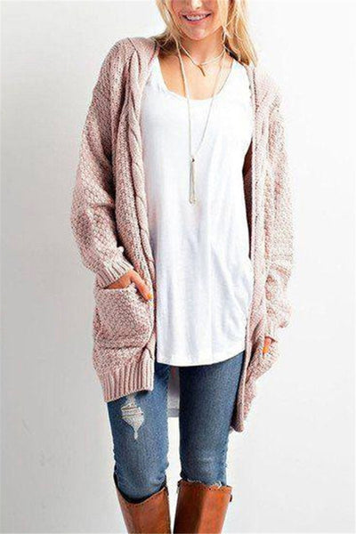 Chiczora Open Stitch Solid Pockets Cable Female Cardigan