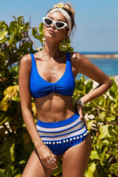 Blue Pom Pom Décor High Waist Bikini