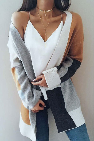 Chiczora Color Block Patchwork Cardigan Sweaters