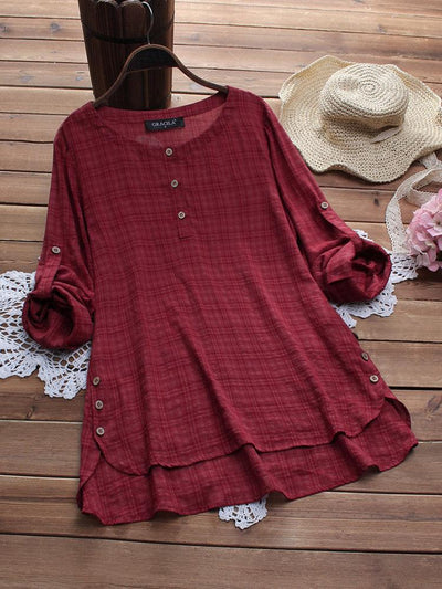 Side Buttons Plaid Print Irregular Casual Blouses