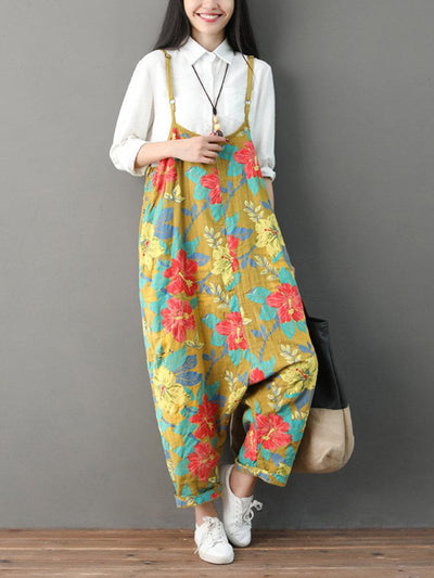Floral Print Strap Loose Vintage Jumpsuit for Women