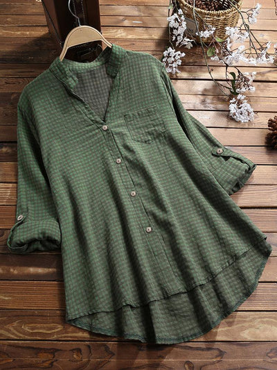 Plaid Adjustable Long Sleeve V-neck High Low Shirt