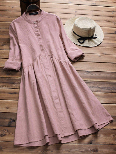 Long Sleeve Sweet Buttoned Dress