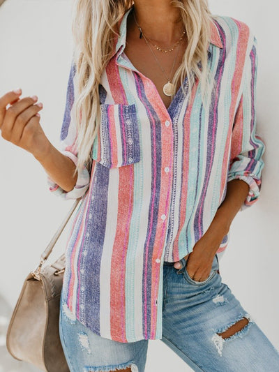 Fashion Women Long Sleeve  Rainbow Striped Blouse