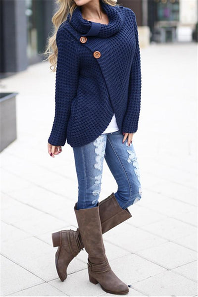 Chiczora Solid Buttoned Turtle Neck Sweater