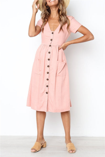 Pretty Dream V Neck Pockets Buttons Mid Dress