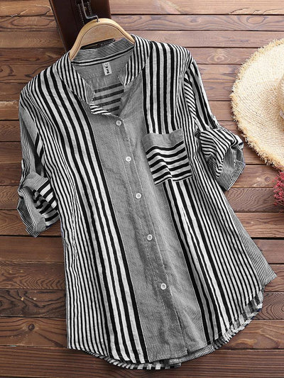 Patchwork Stripe Print Stand Collar Irregular Casual Shirts