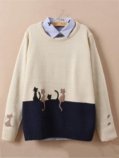 Cute Cat Embroidery O-neck Sweater for Women