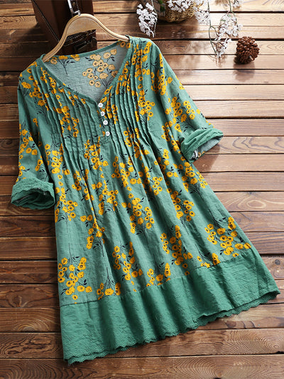Vintage Pleated Print Patchwork Long Sleeve Plus Size Blouse