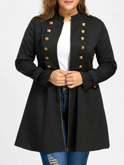 Chiczora Plus Size Double Breasted Flare Coat