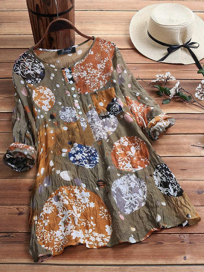 Vintage Print Pleated Crew Neck Button Long Sleeve Plus Size Shirts
