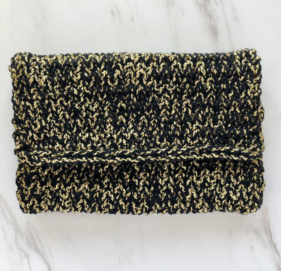 Black and Gold Knitted clutch