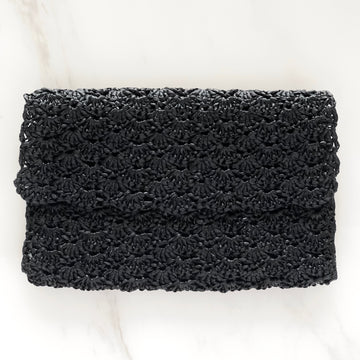 Black Raffia Clutch with Velvet Lining