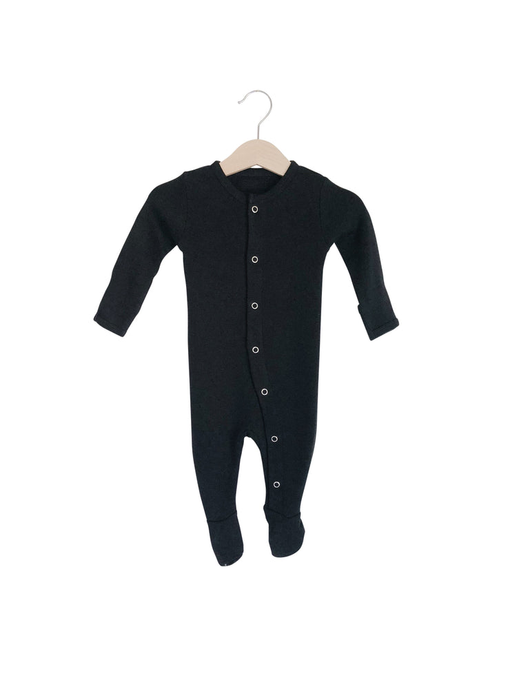 Organic Button Footie | Black
