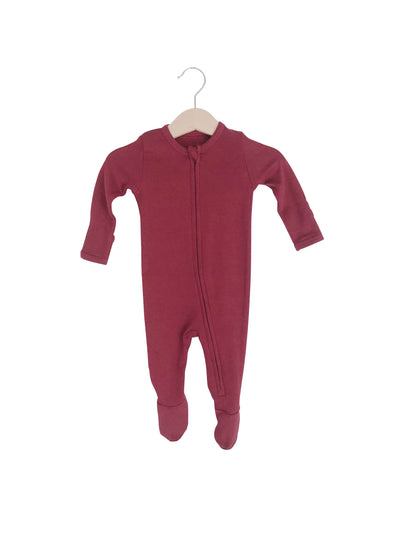 Organic Zip Footies | Maroon