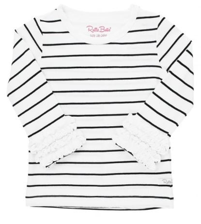 Black & White Striped Ruffled Long Sleeve