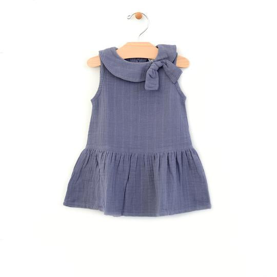 Retro Collar Muslin Dress - Periwinkle