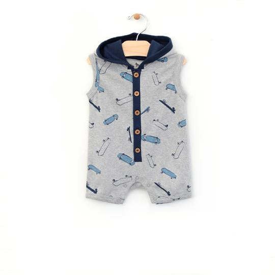 Hooded Short Romper - Skateboard