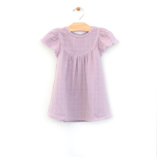 Lace Sleeve Muslin Dress - Lilac