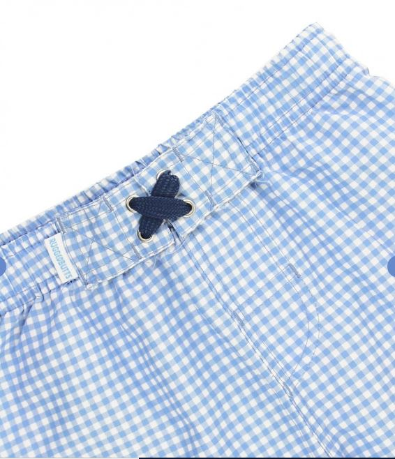 Cornflower Blue Gingham Swim Trunks
