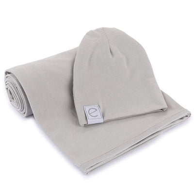 Jersey Cotton Spandex Swaddle Blanket with Hat - Grey