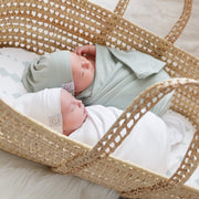 Jersey Cotton Spandex Swaddle Blanket and Hat - Sage