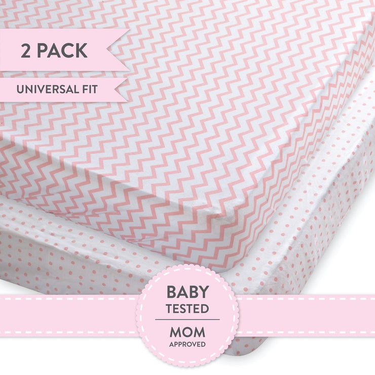 Crib Sheet Set I Pink Chevron and Polka Dots