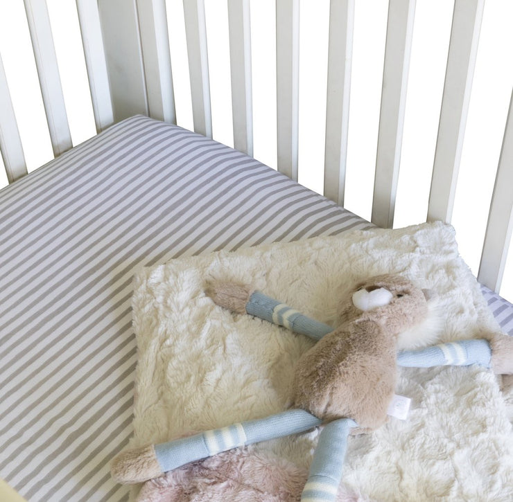 Waterproof Crib Sheet Set I Taupe Stripes