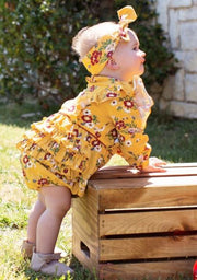 Golden Gardenias Waterfall Bubble Romper