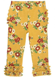 Golden Gardenias Ruffle Leggings