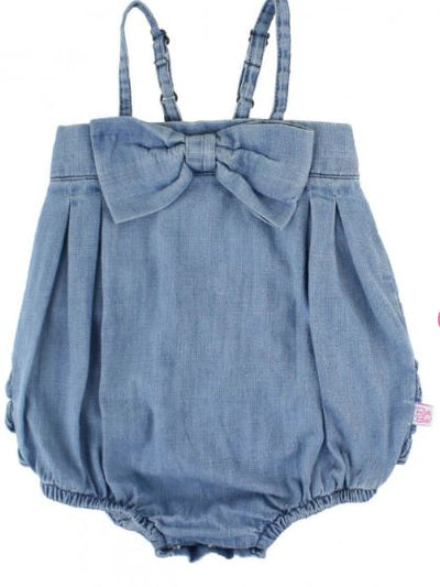 Light Wash Denim Bow-Front Bubble Romper