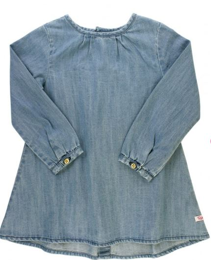 Light Wash Denim Button Back Dress