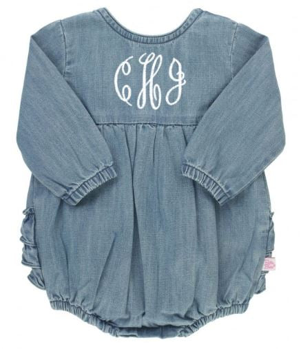 Light Wash Denim V-Back Bubble Romper