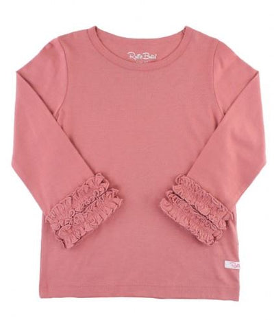 Mauve Ruffled Long Sleeve Layering Tee