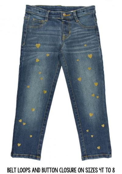 Medium Wash Denim Hearts Jeggings